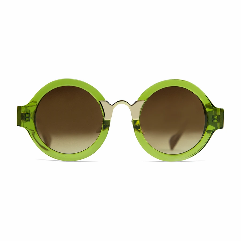 Coco and Breezy green round sunglasses featured in Wardrobe Wellness blog post