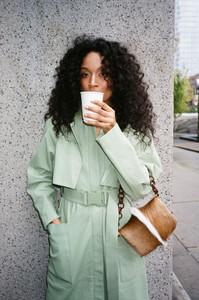 Pastel green trenchcoat