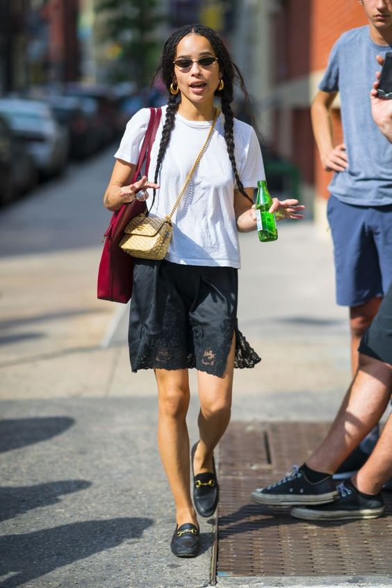 Zoe Kravitz in white t-shirt and slip on Wardrobe Wellness blogpost