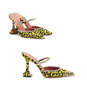 Amina Muaddi Gilda embellished calf hair mules featured in Wardrobe Wellness blog post