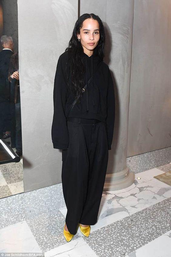 Zoe Kravitz in black outfit on Wardrobe Wellness blogpost