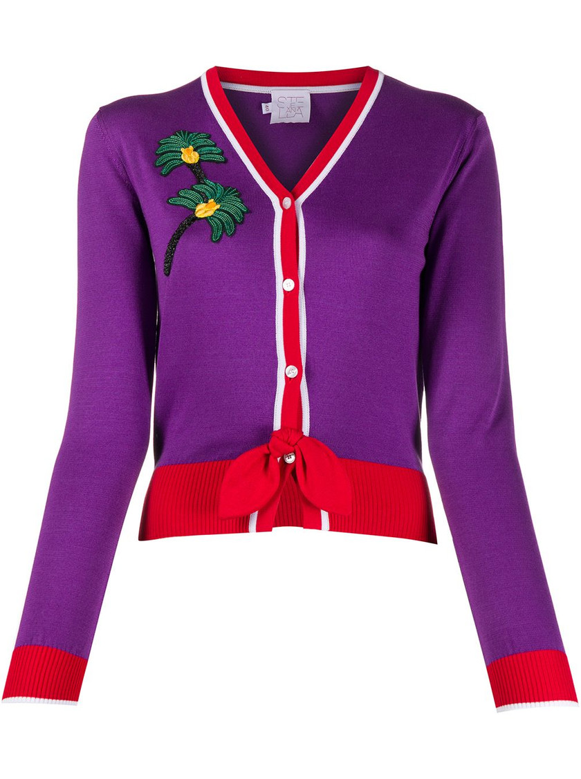 Stella Jean purple and red cardigan featured in Wardrobe Wellness blog post