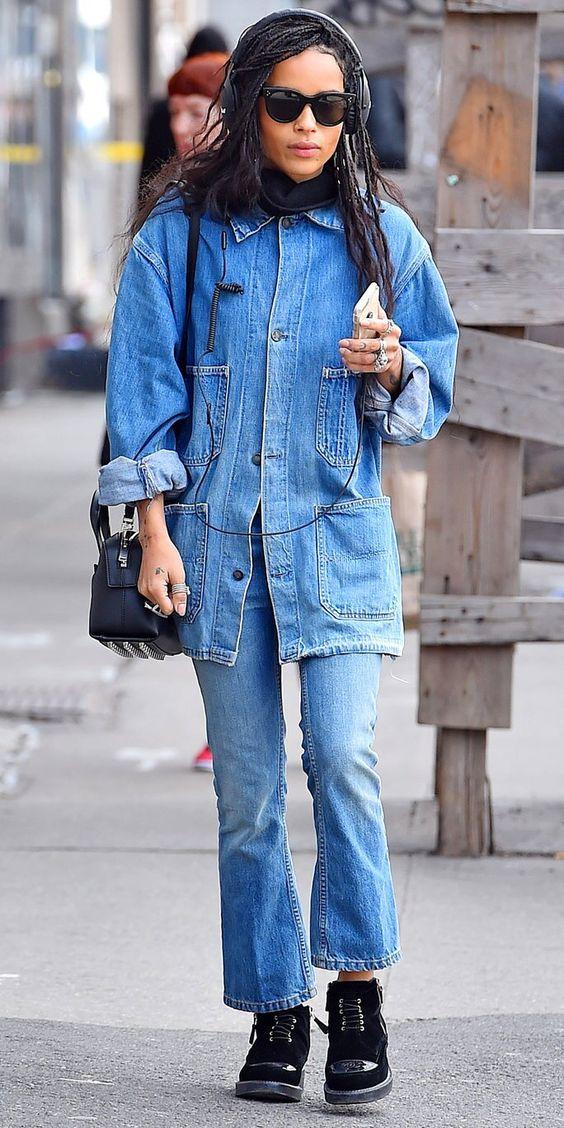 Zoe Kravitz in jean outfit on Wardrobe Wellness blogpost