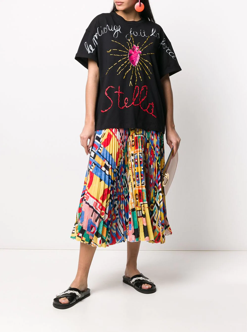 Stella Jean Pleated Abstract Print Skirt featured in Wardrobe Wellness blog post