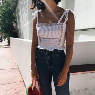White blouse with tied straps