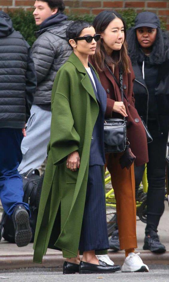 Zoe Kravitz in green coat on Wardrobe Wellness blogpost