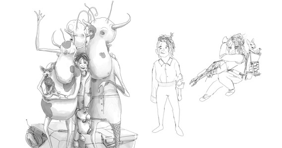 Cocoafia, Nerd-Dog and Cow Aliens Concept