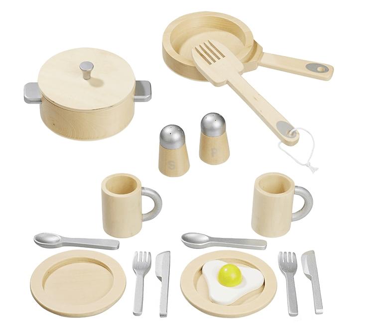 Σετ ξύλινων αξεσουάρ κουζίνας σε χρώμα ασημί-φυσικό κωδ.4868