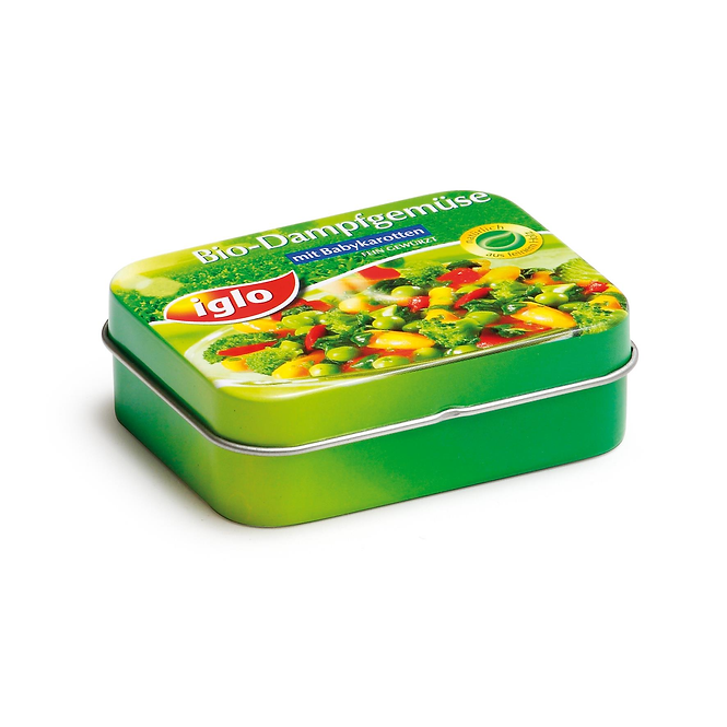 Λαχανικά σε μεταλλικό κουτί