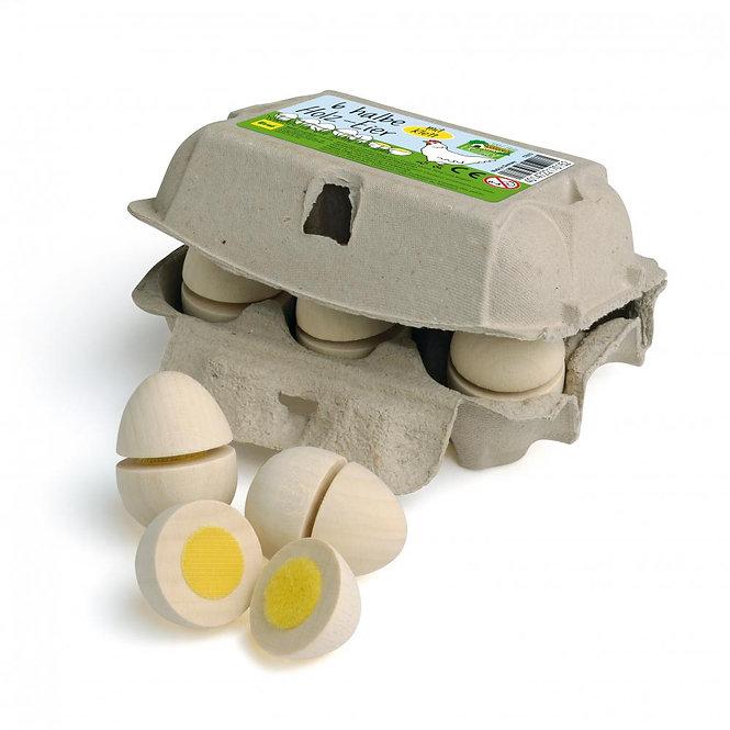 Ξύλινα αυγά κοπής 6άδα λευκά κωδ.17015