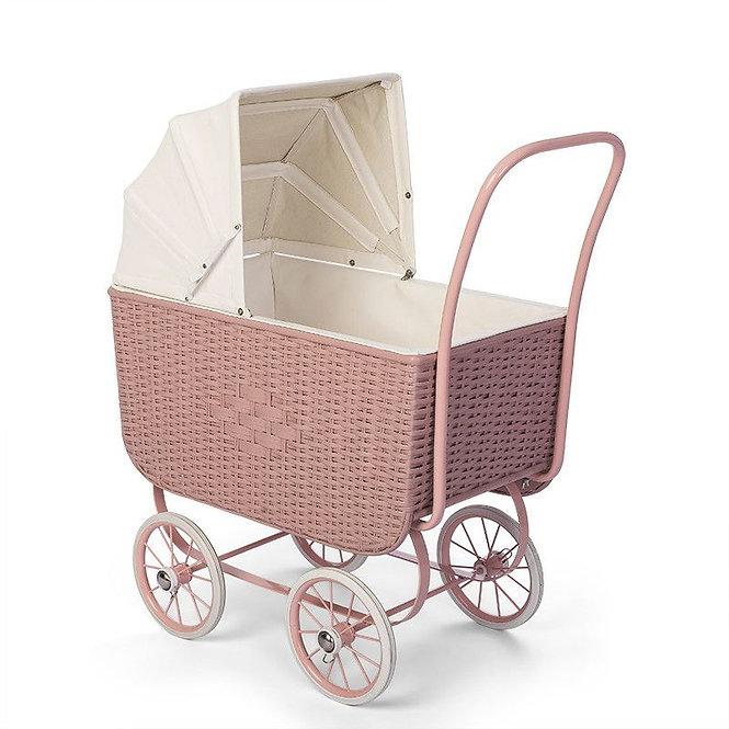Καροτσάκι Ρετρό Ρατάν ροζ για κούκλες κωδ: Τ0184180