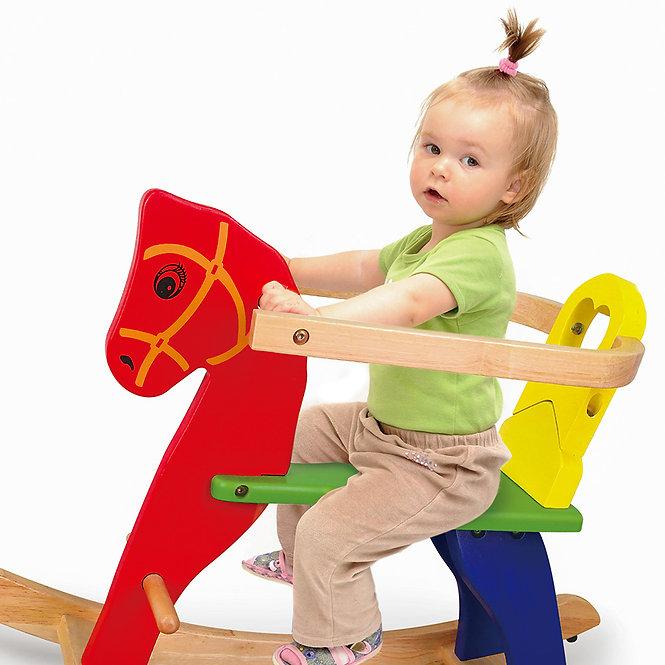 Κουνιστό  ξύλινο άλογο με προστατευτικό  κωδ:ΤΖ56163