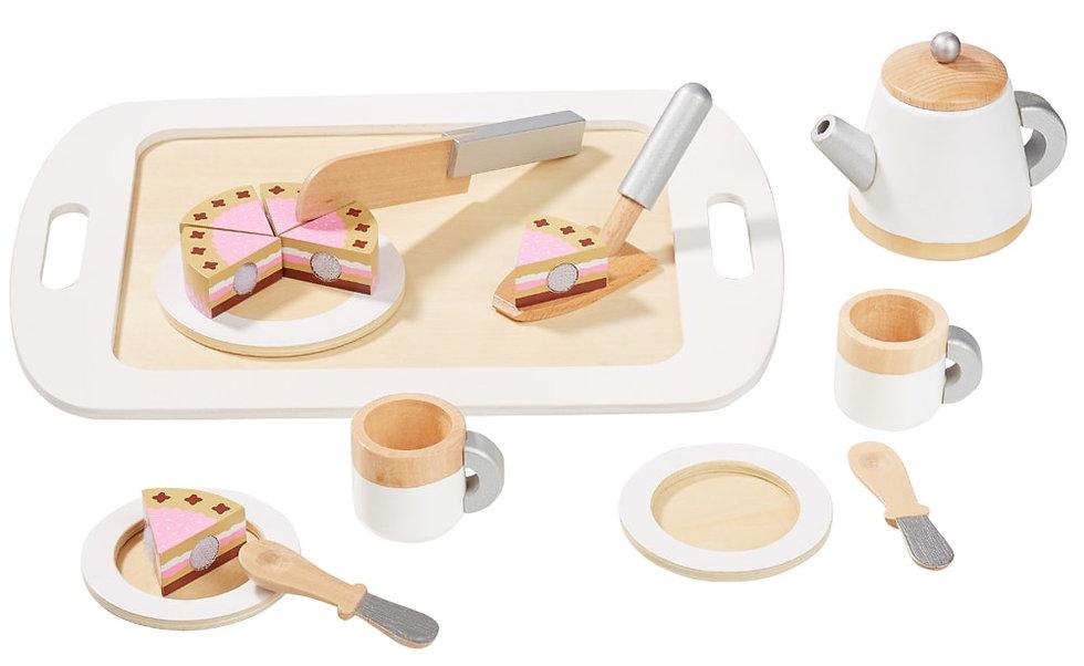 Σετ σερβίτσιο καφέ/τσαι ασημί-άσπρο με τούρτα και δίσκο κωδ.4883