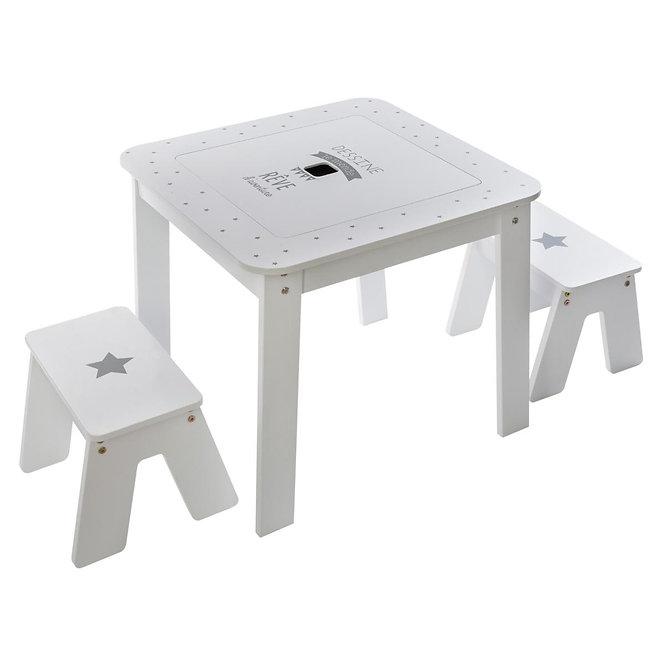 """Παιδικό Ξύλινο Σετ τραπέζι  + 2 σκαμπό """"the boy""""  κωδ.J158473"""