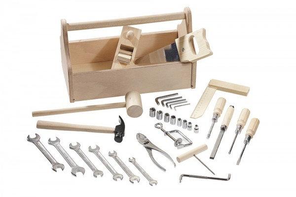 Εργαλειοθήκη από μασίφ ξύλο με 32 εργαλεία. κωδ.4901