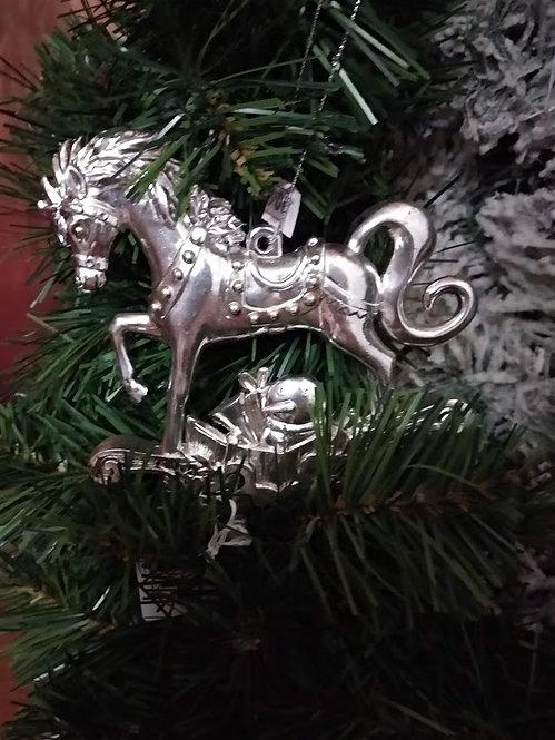 Κρεμαστό χριστουγεννιάτικο στολίδι ασημί κουνιστό άλογοκωδ:L640