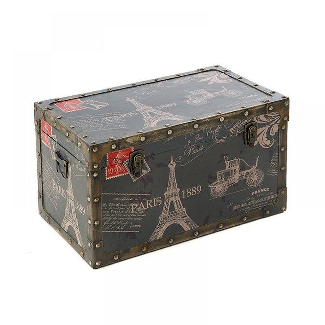"""Μοναδικό ξύλινο μπαούλο αποθήκευσης """"Παρίσι """"Κωδ.52201"""