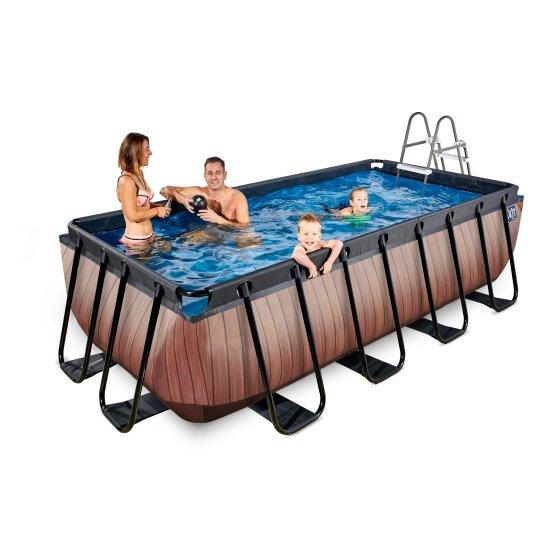 Πισίνα  με ξύλινη εμφάνιση  μήκος 450εκ. με  φίλτρο κασέτας  κωδ.EX30124210