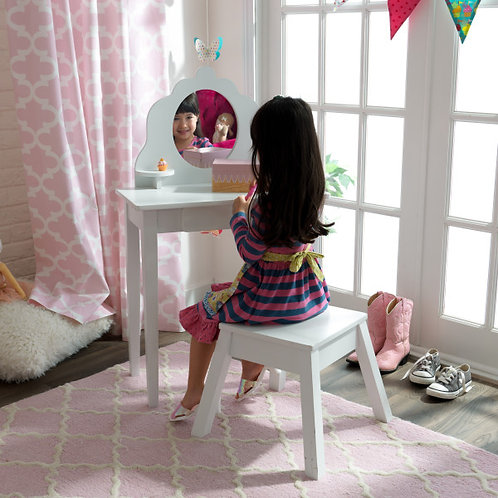 kidkraft Medium Vanity & Stool-White Κωδ.13009
