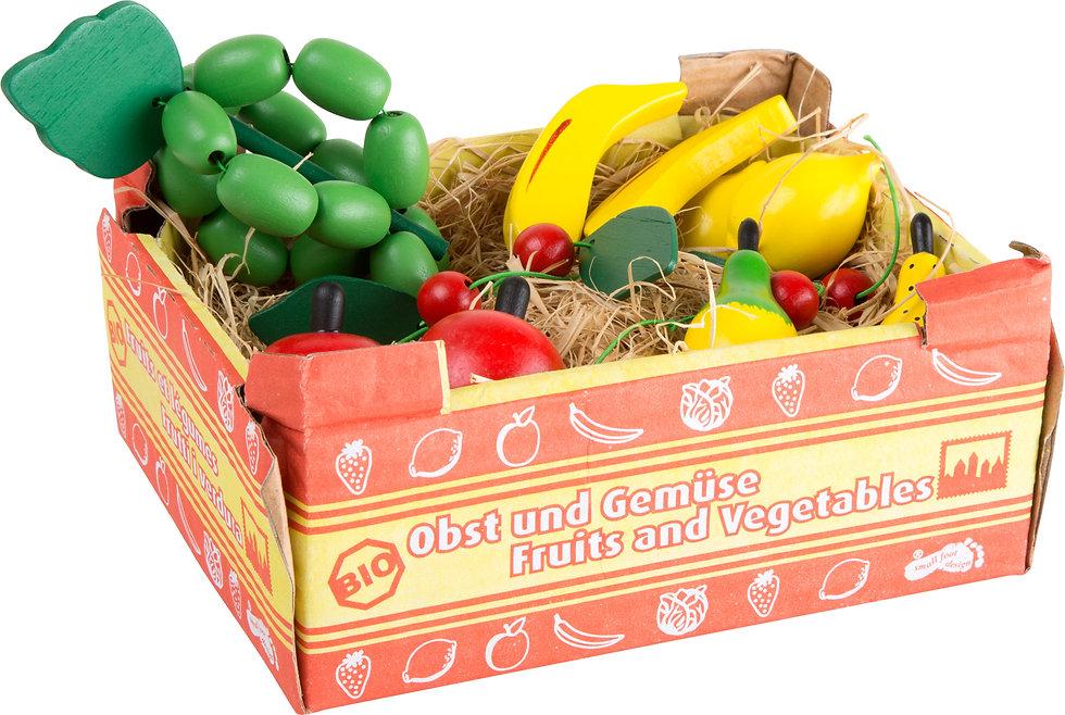 Καφασάκι με ξύλινα φρούτα 12 τεμ. κωδ:L1646