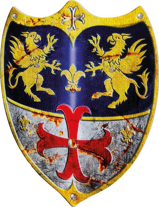 Ασπίδα ξύλινη με δράκους και κόκκινο σταυρό κωδικός:L3431