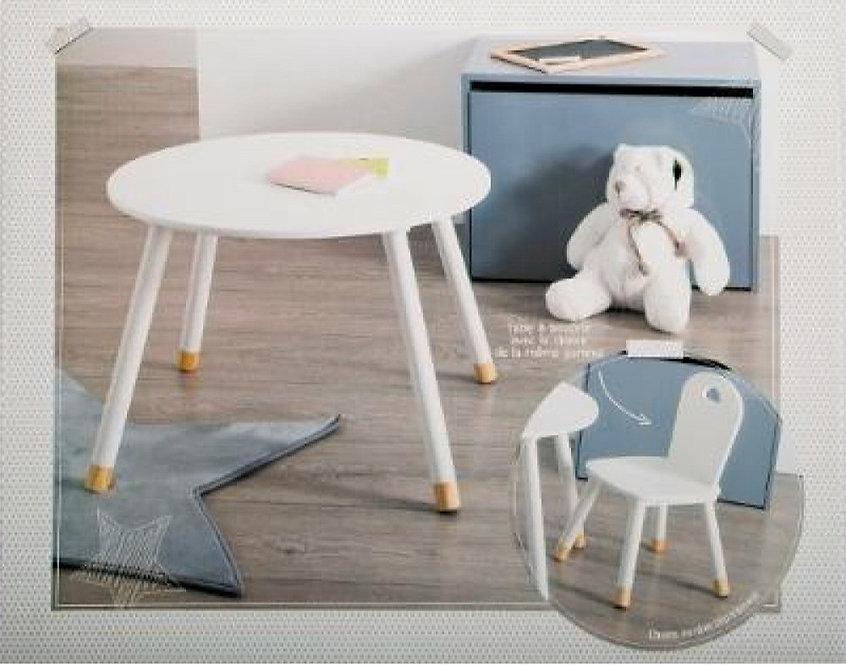 """Παιδικό Ξύλινο στρόγγυλο τραπέζι """"Λευκό"""" κωδ.J1271522"""