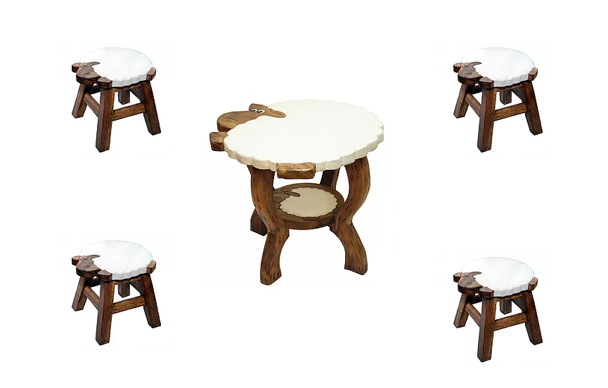 Ζωγραφιστό τραπέζι με 4 σκαμπώ