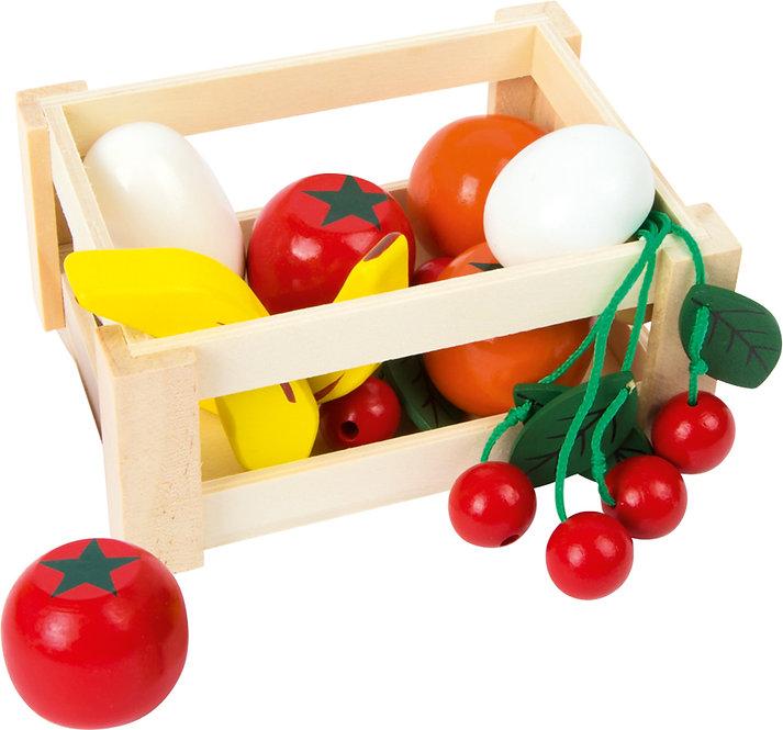 Καφασάκι με ξύλινα φρούτα και λαχανικά 10 τεμ. κωδ:L7122