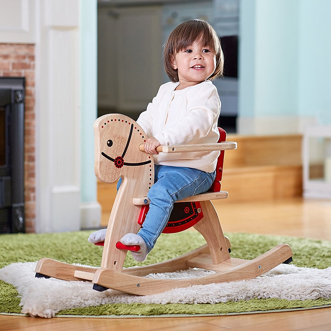 Κουνιστό  ξύλινο άλογο με προστατευτικό  κωδ:ΤΖ80289