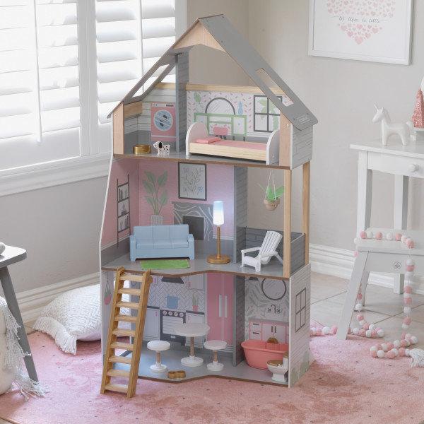 Νέο Κουκλόσπιτο Alina Dollhouse με φώς  Κωδ:10229
