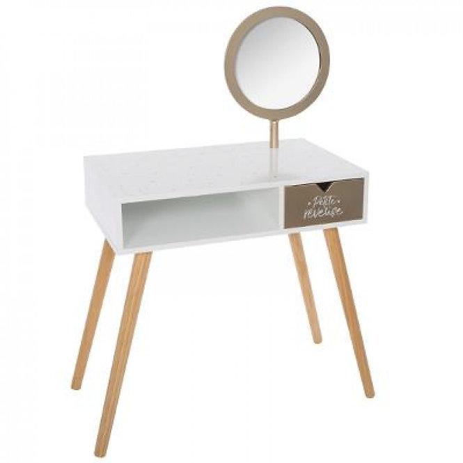 """Ξύλινο γραφείο 2 σε 1 """"με Τουαλέτα Ομορφιάς  χρυσό καθρέφτη """"κωδ.J158435"""