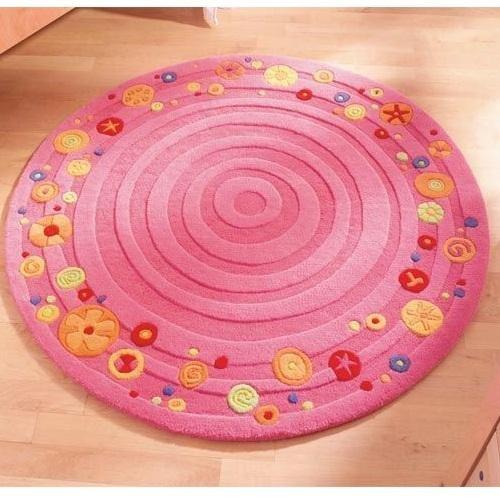 Χαλί ροζ στρογγυλό με λουλούδια 120εκΚωδ.T2961