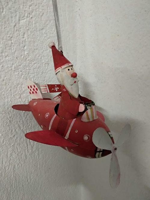 Κρεμαστό χριστουγεννιάτικο αεροπλάνο Άγ.Βασίλης με ελατήριο κωδ:L647