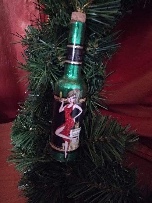 Κρεμαστό χριστουγεννιάτικο στολίδι μπουκάλι κωδ:L642