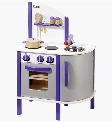 Κουζίνα ξύλινη σε χρώμα μώβ και ασημί κωδ.W48161