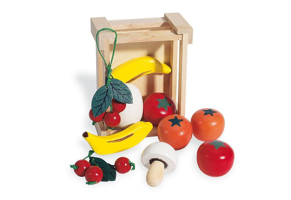 Όμορφο Ξύλινο Καφασάκι με πολλά φρούτα και λαχανικά  κωδ.PN0221403