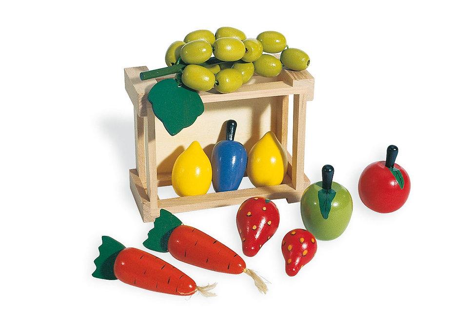 Ξύλινο Καφασάκι  με πολλά φρούτα και λαχανικά  κωδ.PN022140