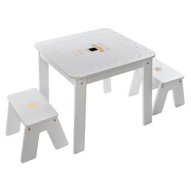 """Παιδικό Ξύλινο Σετ τραπέζι  + 2 σκαμπό """" the girl """"  κωδ.J1584732"""
