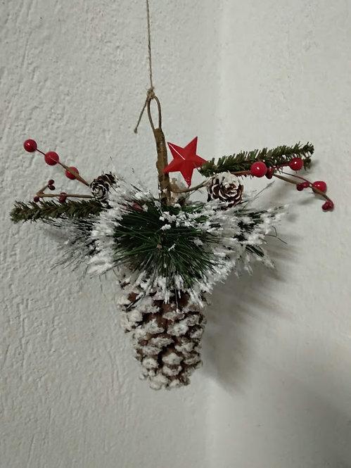 Κρεμαστό χριστουγεννιάτικο στολίδι με κουκουνάρι κωδ:L650