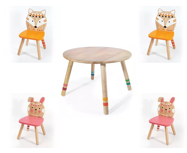Σέτ Τραπεζάκι με 4 Καρέκλες 'Αλεπού'& Λαγουδάκι  Κωδ:Τ220042