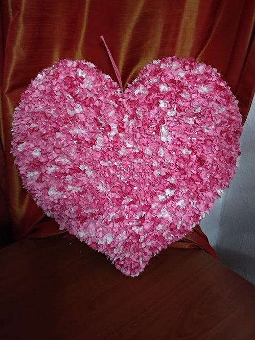 Μεγάλη κρεμαστή ροζ-λευκό καρδιά κωδ:L670