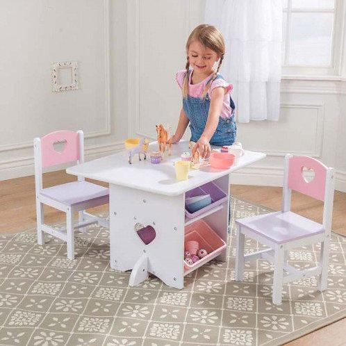 Σετ τραπέζι+2καρέκλες με αποθηκευτικό χώρο Κωδ.26913