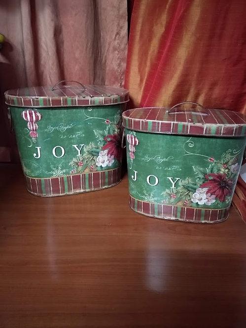 Σετ 2 χριστουγεννιάτικα μεταλλικά κουτιά κωδ:L677