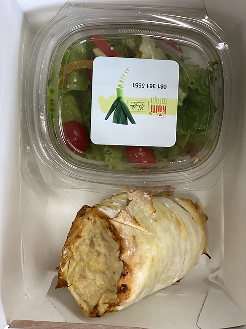 Phyllo rolled chicken pie served with a garden salad