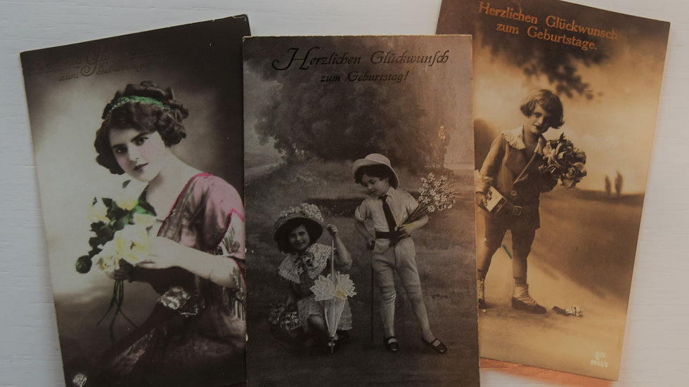 3 reprinted vintage postcards: Birthday Photography