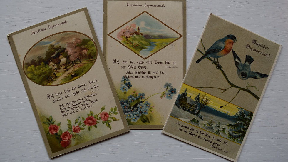 3 reprinted vintage postcards: Blessings / Segenswunsch