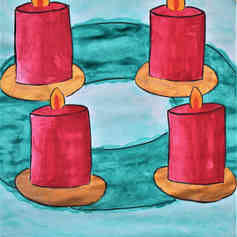 "Illustrated card   ""Advent Wreath"""