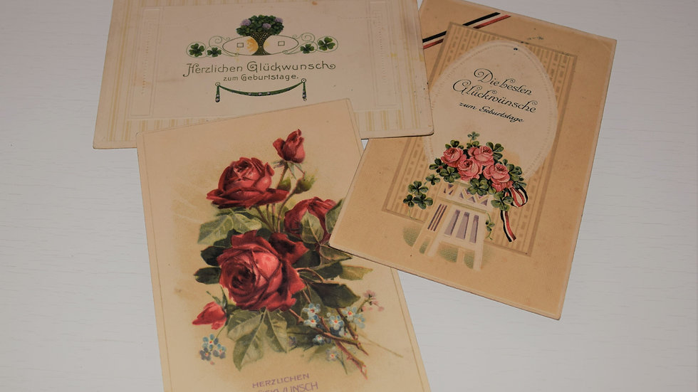 3 reprinted vintage postcards: Classical Birthday