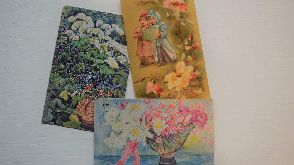 3 reprinted vintage postcards: Painted Florals