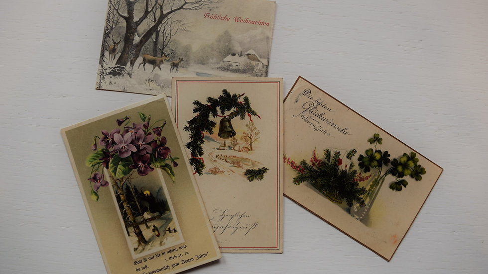 4 reprinted vintage postcards: Christmas & New Year's